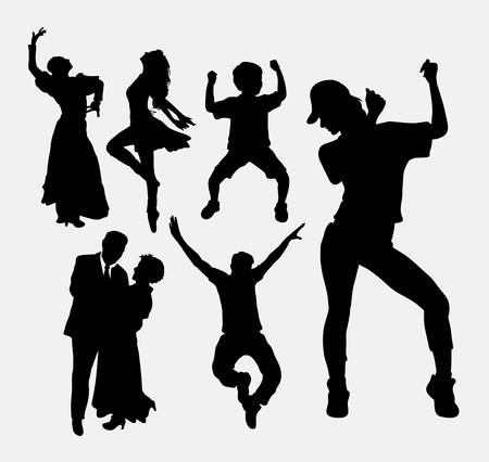popular: Dancer pose, male, female, and kid silhouette. Good use for symbol, logo, web icon, game elements, mascot, or any design you want. Easy to use.
