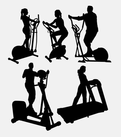 man working out: Male and female, fitness, gymnastic, athletic sport silhouette. Good use for symbol, logo, web icon, game elements, mascot, or any design you want. Easy to use.