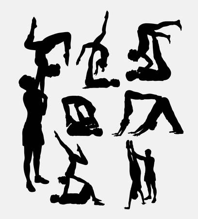 female silhouettes: Couple yoga, male and female activity sport silhouettes. Good use for symbol, web icon, logo, mascot, or any design you want. Illustration
