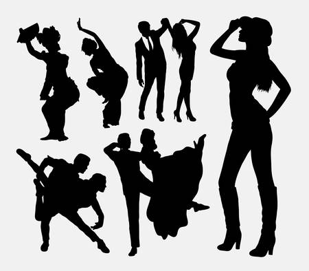 sexual couple: Traditional and modern dancer. Good use for symbol, logo, web icon, mascot, or any design you want. Easy to use.