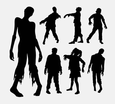 Zombie personas terror siluetas. Buen uso de símbolo, logotipo, icono del Web, mascota, o cualquier diseño que desee. Facil de usar.