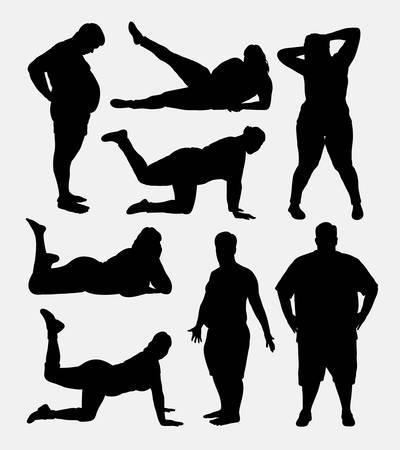 silueta hombre: La gente gorda siluetas. Buen uso de símbolo, logotipo, icono del Web, mascota, o cualquier diseño que desee. Facil de usar. Vectores