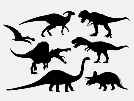 Dinosaur animal silhouettes. Good use for symbol, logo, web icon, mascot, or any design you want. Easy to use Vettoriali