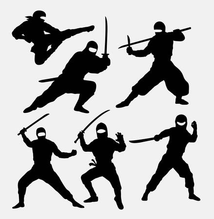 warrior pose: Ninja japanese warrior silhouettes. Good use for symbol, logo, web icon, mascot, or any design you want. Easy to use. Illustration