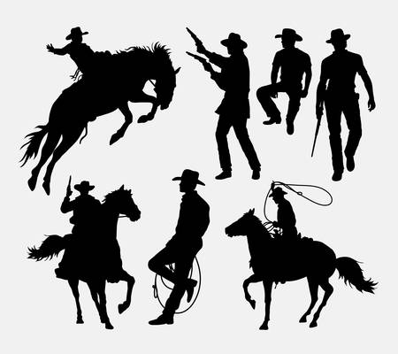Cowboy activity silhouettes. Good use for symbol, logo, web icon, mascot, or any design you want. Easy to use.