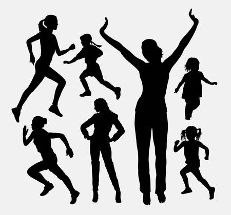 stretching: Girl and kid activity silhouettes. Good use for symbol, logo, web icon, mascot, or any design you want. Easy to use.