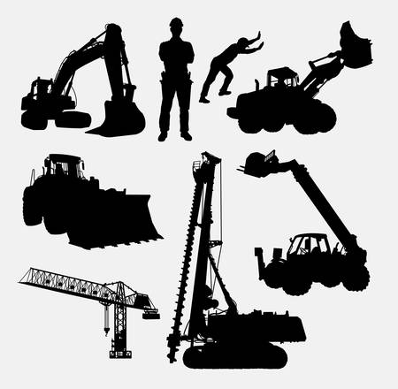 tractor warning: Construction silhouettes. Good use for symbol, logo, web icon, mascot, or any design you want. Easy to use. Illustration