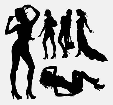 sexy women naked: Female people silhouettes. Good use for symbol, logo, web icon, mascot, or any design you want
