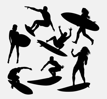 surfer vector: surfer male and female sport activity silhouettes. Good use for symbol, logo, avatar, mascot, or any design you want. Easy to use