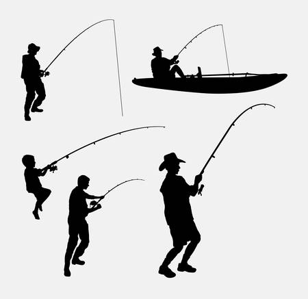 father and son: Fishing people silhouettes. Good use for symbol, logo, web icon, mascot, or any design you want. Easy to use.