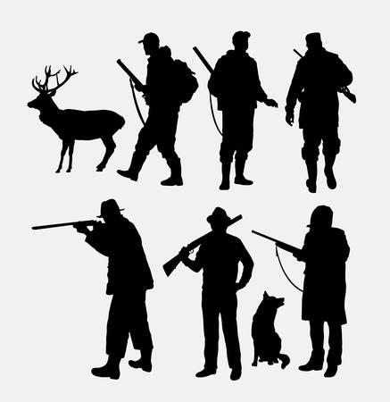cazador: Siluetas Hunter. Buen uso de símbolo, logotipo, icono del Web, mascota, o cualquier diseño que desee. Facil de usar. Vectores