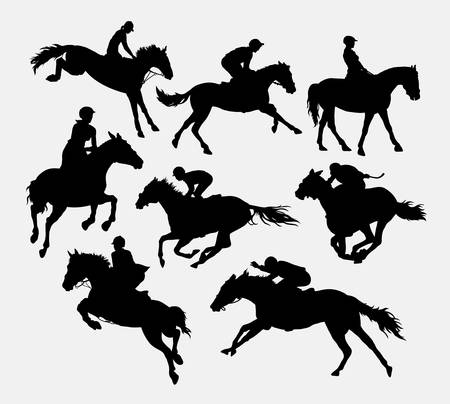 silueta ciclista: Jinete a caballo siluetas de caballos. Buen uso de símbolo, logotipo, icono del Web, mascota, o cualquier diseño que desee. Facil de usar.
