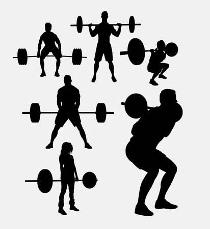 sexo femenino: Levantamiento de pesas siluetas deportivas. Buen uso de símbolo, logotipo, icono del Web, mascota, o cualquier diseño que desee. Fácil de usar.