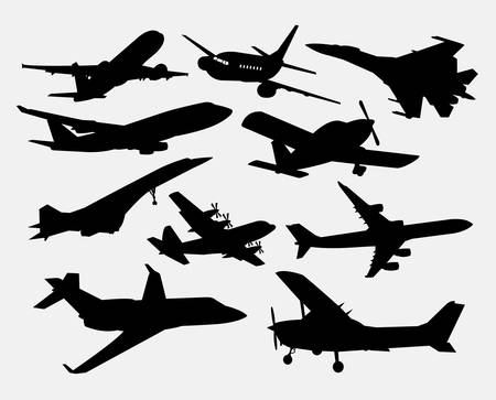 cool off: Airplane transportation silhouettes. Good use for symbol, logo, web icon, mascot, or any design you want. Easy to use.