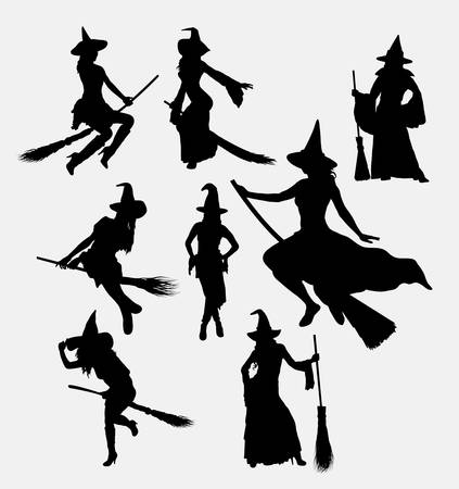 flying hat: Halloween witch silhouettes. Good use for symbol, logo, web icon, game elements, mascot, or any design you want. Easy to use. Illustration