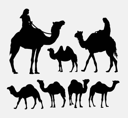 Camel animal silhouettes. Good use for symbol, logo, web icon, game element, mascot, or any design you want. Easy to use.