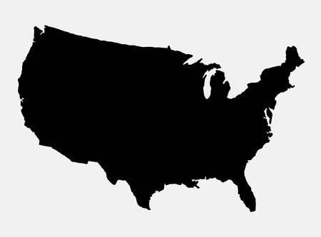 De Verenigde Staten van Amerika in kaart eiland silhouet. Goed gebruik voor symbool, logo, web pictogram, spelelement, mascotte, of een ontwerp dat u wilt. Makkelijk te gebruiken. Stock Illustratie
