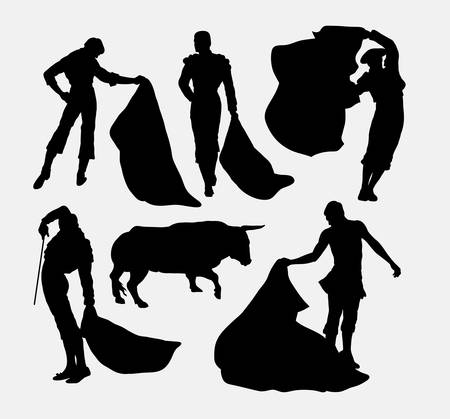 bull fight: Matador sport silhouettes. Good use for symbol, logo, web icon, mascot, or any design you want. Easy to use.