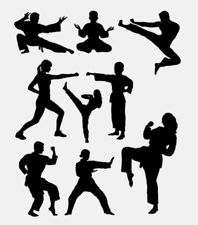 patada: entrenamiento de artes marciales. El hombre, mujer y niño. Vectores