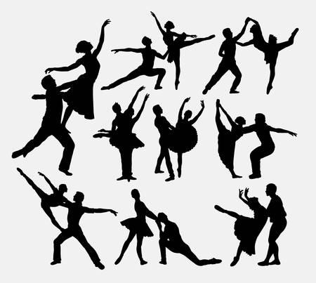 famous actress: Ballerina couple dancer silhouettes.