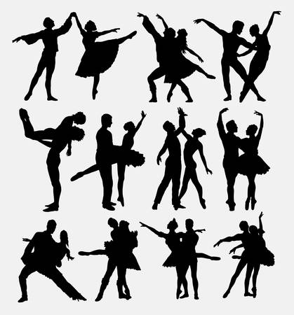 Ballet couple de danse silhouettes de pose.