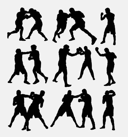 silhouettes: Boxing fighting silhouettes. Illustration