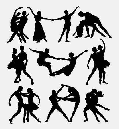 Couple ballet dancing silhouettes.
