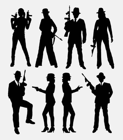 Gangster with gun, male and female pose silhouettes.