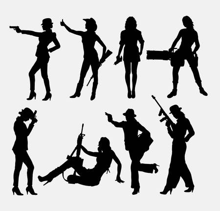 black cowgirl: Girl and weapon sexy pose silhouettes.