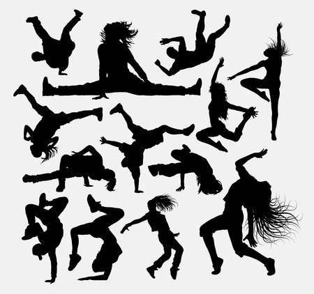 bailarin hombre: La gente baila pose, siluetas masculinas y femeninas.