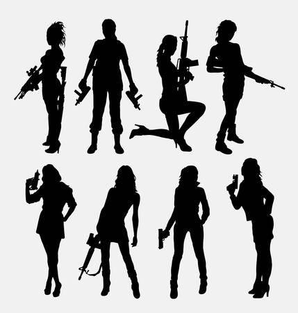 mujer con pistola: Mujer y arma siluetas.