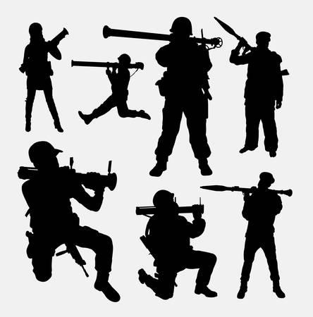 terrorist: Bazooka army, military male and female silhouette.