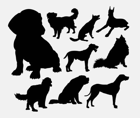 large dog: little and large dog silhouette.
