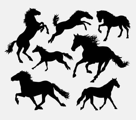 horse running: Horse running, jumping, standing, walking silhouette.