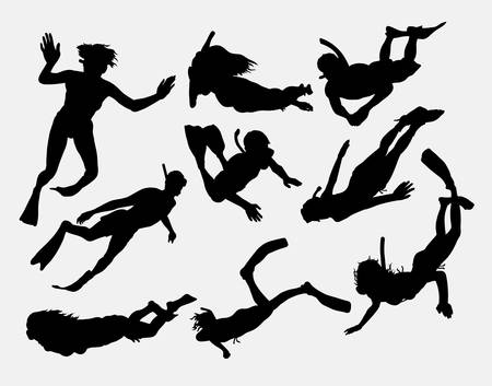 水泳のシュノーケ リング、ダイビング、人および女性のスポーツ活動のシルエット。