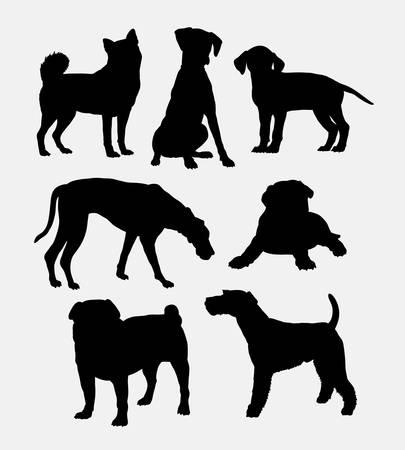 sitting: Dog pet shop symbol silhouette.
