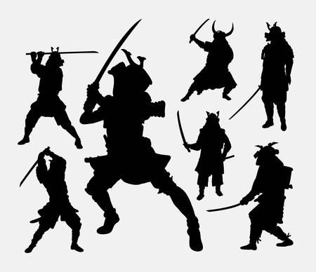 warrior pose: Samurai japanese warrior, martial art silhouette. Illustration