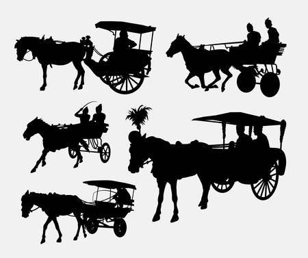 Wózek z konia sylwetki. Ilustracje wektorowe