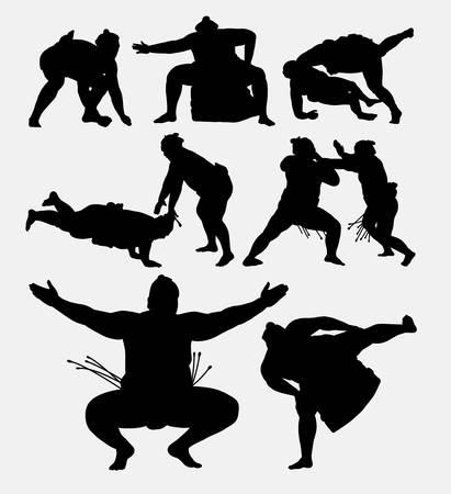 Sumo japanese fighting sport tournament silhouette.