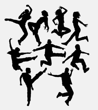 modern dance: Modern dance. Man and women jumping action silhouette.
