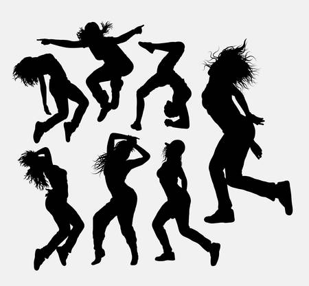 freestyle: Woman dancing freestyle silhouette.