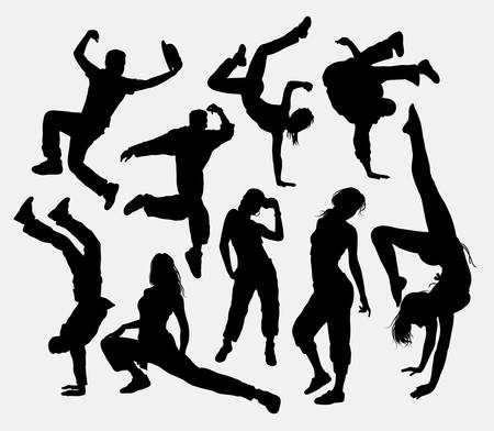 detail: Freestyle dance, male and female action silhouette.