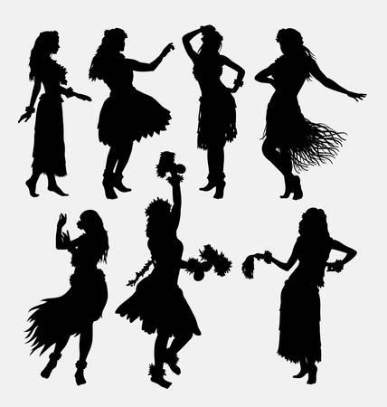 ハワイアン フラガール。ポーズ、ダンス、官能的でセクシーな女性シルエット。