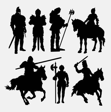 crusades: Knight male warrior silhouette.
