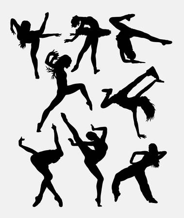sport woman: Beautiful dancer performing silhouette. Male and female dance pose. Good use for symbol, logo, web icon, mascot, game elements, mascot, sign, sticker design, or any design you want. Easy to use. Illustration