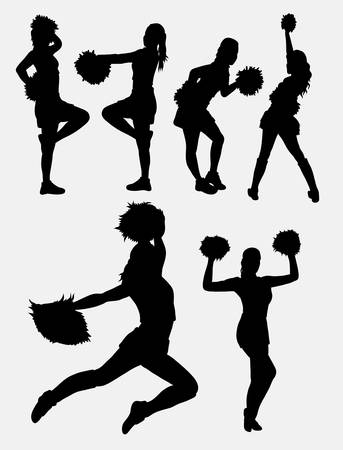 sexual activity: Cheerleader girl dancer activity silhouette. Good use for symbol, web icon, logo, mascot, sign, game elements, sticker, or any design you want. Easy to use. Illustration
