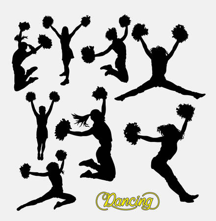 Cheerleader sport girl jumping silhouette. Good use for symbol, logo, web icon, sign, game elements, or any design you want. Easy to use. Stock Illustratie