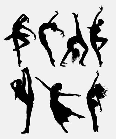 danza moderna: 1. fresco del baile moderno actividad de la mujer silueta de danza. Buen uso de símbolo, logotipo, icono del Web, los elementos del juego, ejemplo, muestra, o cualquier diseño que desee. Fácil de usar. Vectores