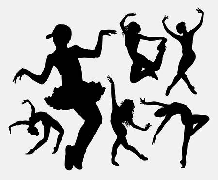 modern dance: Cool dancing 2. Female ballet modern dance activity silhouette. Good use for symbol, web icon, logo, mascot, sign, game elements, sticker, or any design you want. Easy to use.