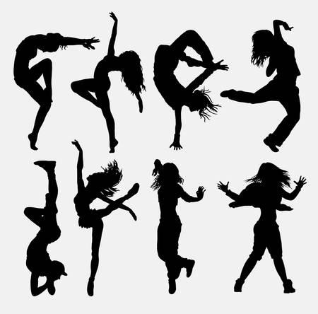 ragazze che ballano: Raffreddare ballo 3. silhouette attività ballerino ragazza. Buon uso per simbolo, icona web, elementi di gioco, logo, segno, mascotte, o qualsiasi disegno che si desidera. Facile da usare. Vettoriali